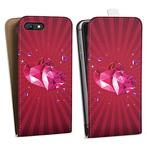 Apple iPhone X Silikon Hülle Case Schutzhülle Herz Liebe Pink Downflip Tasche weiß