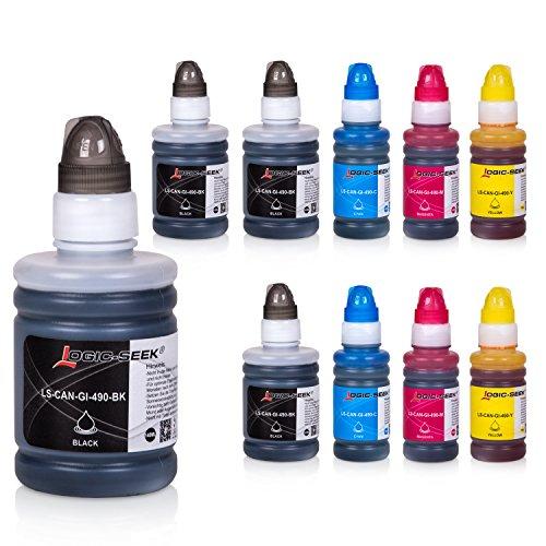 Preisvergleich Produktbild Logic-Seek 10 Tintenbehälter Kompatibel zu Canon GI-590/GI-490 für Canon Pixma G1400 G1500 G2400 G2500 G3400 G3500