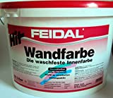 Feidal Hit Wandfarbe u. Deckenfarbe , die waschfeste Innenwandfarbe, lösemittelfrei ,Weiss, matt / 10 Liter / geruchsarm, diffusionsfähig, leicht zu verarbeiten, gut deckend, schnelle Trocknung, lösemittelfrei, weichmacherfrei / nach DIN EN 13300 / gut Deckkraft / leichte Verarbeitung / Verbrauch: 10 L reichen für ca. 60 m²