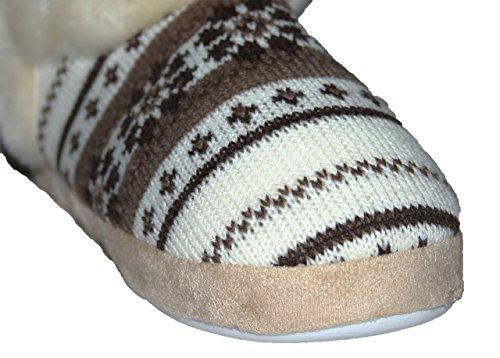 Dunlop Farrah Bottes pantoufles doublées en fourrure synthétique pour femme Pointure 35,5-42 Marron - marron