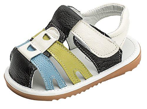 La Vogue Sandale Marche Enfant Bébé Garçon Fille Chaussure Premier Pas Outdoor Simili Cuir Souple Noir
