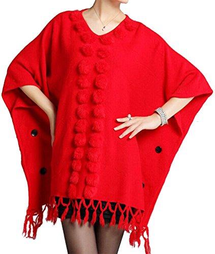 Helan Damen quadratisch kaninchen pelz ball schal Umhang Mantel mit Quaste Rot