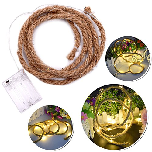 LEDMOMO LED Hanfseil Vintage Fairy String Lichter Batterie betrieben für Garten Party Indoor Outdoor Licht Lampe (warmweiß) 1.9 MT - Outdoor-string Fairy Lichter