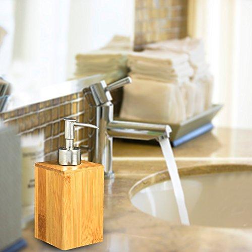 KIOPS Botella De Desinfectante De Manos De Baño De Bambú para El Hogar para Restaurante Loción De Hotel Baño Dispensador De Jabón Líquido