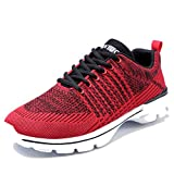 Ritiriko Mens Trainers Road Running Shoes Athletic Sneakers for Walking Gym Sport Red/White