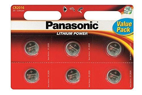 Panasonic - Pack de 6 Piles Bouton Lithium CR2016 CR 2016 3V