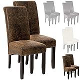 TecTake Lot de 2 chaises de salle à manger 105cm chaise de salon mobilier meuble de salon - diverses couleurs au choix - (Look cuir vieilli   No. 401596)