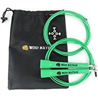 WOD Nation Speed Skipping Rope. Blazing Fast Rope for Endurance training for Sports like Cross Fitness, Boxing, MMA, Martial Arts or Just Staying Fit. Fully Adjustable to Fit Men, Women and Children.