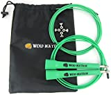 WOD Nation Speed Jump Rope - Blazing Fast Rope for Endurance training for Sports like Cross Fitness, Boxing, MMA, Martial Arts or Just Staying Fit - Fully Adjustable to Fit Men, Women and Children - GREEN