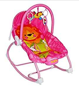 Infant to Toddler Baby Bouncer Swing Chair Rocker Vibration Musical Pink