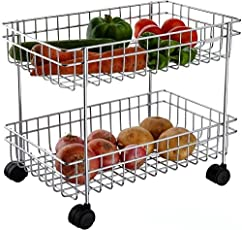 Xectes Double Stainless Steel Multipurpose Vegetable and Fruit Kitchen Trolley Stand Rack