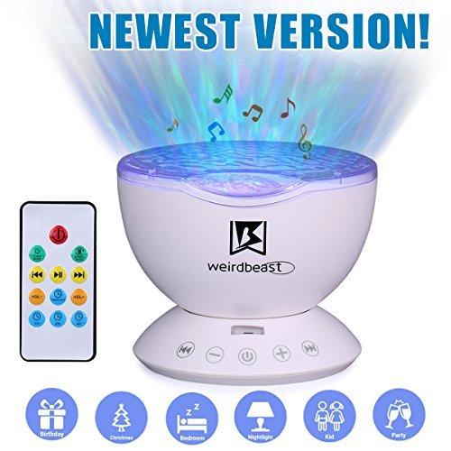 [Generation 3] weirdbeast Fernbedienung Ocean Wave Projekt Schlafen, Nacht Licht mit integriertem Ambient Audio Schlafzimmer Wohnzimmer Dekoration Lampe für Kinder/Erwachsene-Schwarz/Weiß