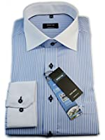 ETERNA Herren Langarm Hemd Comfort Fit Kontrast-Kragen blau / weiß gestreift 4202.12.E117