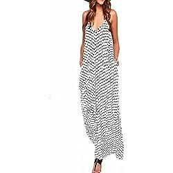 ZANZEA Mujeres Elegante Bohemio Algodón Casual Vestido Suelto Largo Playa Lunares Cuello V sin Mangas Blanco EU 36