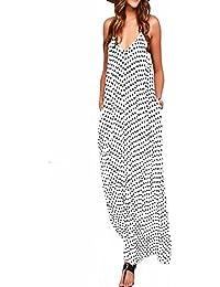 558604b556f Zanzea Femmes élégant bohème Coton Casual Robe Fluide Long Plage Pois Col V  sans Manches