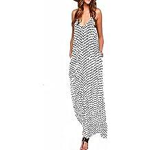 ZANZEA Mujeres Elegante Bohemio Algodón Casual Vestido Suelto Largo Playa Lunares Cuello V sin Mangas