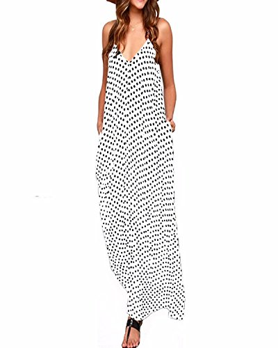 ZANZEA Boho Sexy Femme Sans Manches Col V Lâce Robe Longue Maxi à Bretelle de Plage Party Cocktail Blanc EU 38/ US 6 UK 10