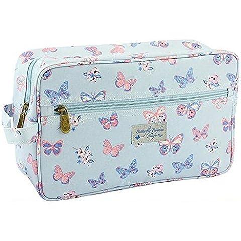 Lesser & Pavey Jennifer Rose Wipe Clean laminato su tela farfalla Paradise grande borsa di lavaggio cosmetici borsa da toilette Bag.