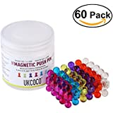 UKCOCO 60 Farbig Sortierte Magnetische Push Pins / Karten-Pins – Perfekt für Karten, Whiteboards, Kühlschränke