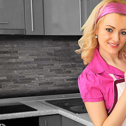 Küchenrückwand < Steinwand Dunkel > Premium Hart-PVC 0,4 mm selbstklebend 60x51cm