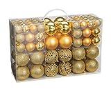 WOMA Christbaumkugeln Set in 4 weihnachtlichen Farben - 50 & 100 Weihnachtskugeln aus Kunststoff - Gold, Silber, Rot & Bronze/Kupfer - Weihnachtsdeko & Christbaumschmuck