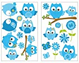 19-teiliges Blaue Baby Eulen auf Ast Wandtattoo Set Kinderzimmer Babyzimmer in 5 Größen (2x21x34cm mehrfarbig)