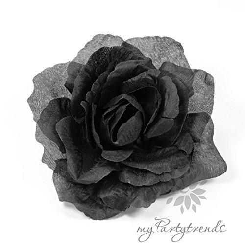 Ansteckrose, Haarrose in schwarz; Modell 'Französische Rose' (Ø 11 cm; Höhe 5 cm) von myPartytrends. (Ansteckrose, Haarblume mit Schnabelspange, Haarschmuck, Seidenrose, Seidenblume, schwarze Rose, Haarrose, Haarblüte, Haarblume)