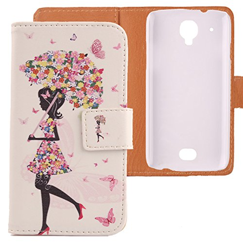Lankashi PU Flip Leder Tasche Hülle Case Cover Schutz Handy Etui Skin Für MOBIWIRE Ahiga Umbrella Girl Design