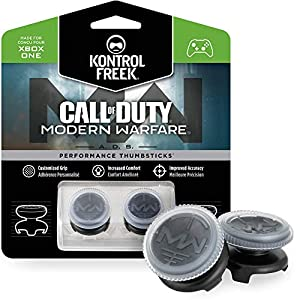 KontrolFreek Call of Duty: Modern Warfare – A.D.S. Performance Thumbsticks for Xbox One Controller | 2 High-Rise, Concave | Transparent/Black