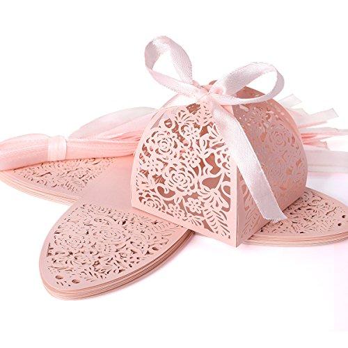 25pz. carta di bomboniera per confetti matrimonio comunione nascita - colore rosa traforato, nastro