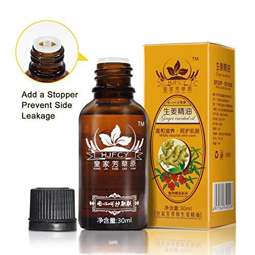 Huile Essentielle de Gingembre Naturel 30ml Huiles de massage,Pour Se Relaxer Drainage lymphatique