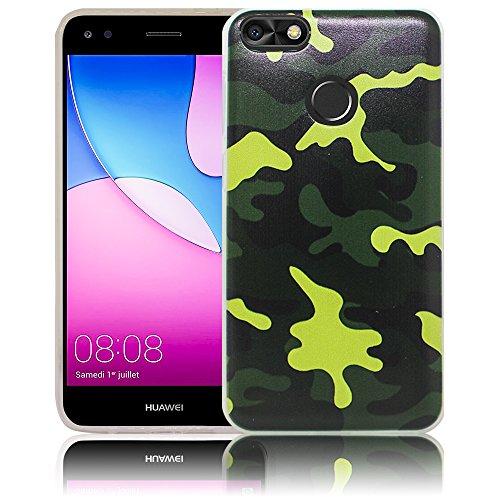 thematys Passend für Huawei Y6 Pro 2017 / Huawei P9 Lite Mini Camouflage Silikon Schutz-Hülle weiche Tasche Cover Case Bumper Etui Flip Smartphone Handy Backcover Schutzhülle Handyhülle