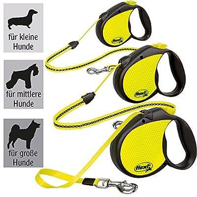flexi Roll-Leine Neon Reflect Seil 5 m für Hunde / verschiedene Größen