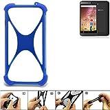 K-S-Trade Handyhülle für Archos 40 Power Silikon Schutz Hülle Cover Case Bumper Silikoncase TPU Softcase Schutzhülle Smartphone Stoßschutz, blau (1x)