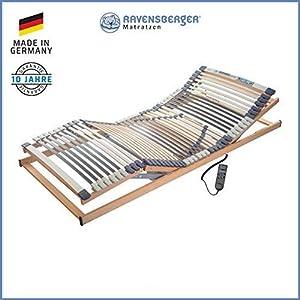 Ravensberger Matratzen® MEDIMED® Lattenrost | 7-Zonen-Buche-Lattenrahmen | 44 Leisten| Elektrisch Kopf- und Fußteil Verstellbar | Made IN Germany – 10 Jahre GARANTIE | TÜV/GS
