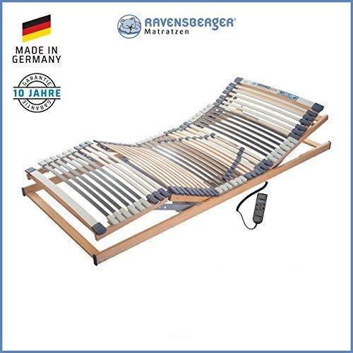 RAVENSBERGER MEDIMED® 44-Leisten 7-Zonen-BUCHE-Lattenrahmen | Elektrisch | Made IN Germany - 10 Jahre GARANTIE | Blauer Engel - Zertifiziert | 100 x 200 cm | Kabel-Fernbedienung