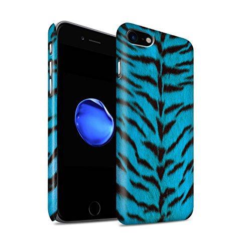 STUFF4 Matte Snap-On Hülle / Case für Apple iPhone 8 / Blau Muster / Tiger Tier Haut/Print Kollektion Blau