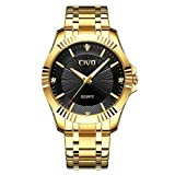 CIVO Hombres Dorado Relojes conBanda de Acero Inoxidable Lujo Negocio Impermeable Reloj de Pulsera Para Hombres Elegantes Casual Vestir Diseño Simple Relojes Analógicos de Cuarzo con Dial Negro