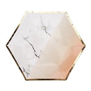 Neviti Colour Block Marble - Plato para fiestas (tamaño mediano), color albaricoque y mármol