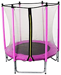 GSD children's trampoline Pink 15798 with longpole net poles and 1,40 m Ø for absolute indoor fun