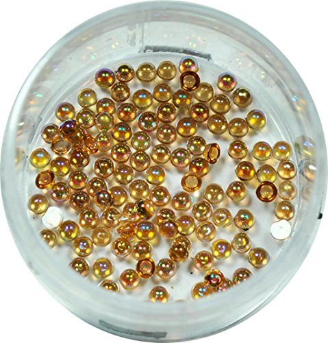 RM Beautynails Demi-perles 1,2 mm rond jaune miel strass paillettes env. 50 pièces pour Nail Art et Manucure Design