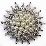 Elixir 77 UK NEW SILVER COLOUR FLOWER/SUNFLOWER BROOCH with FAUX PEARLS WEDDING BRIDAL PARTY PIN BROACH