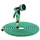 Nuzamas giardino tubo acqua tubo estensibile 50ft con tutti i raccordi in ottone e valvola, 10modello pistola a spruzzo ugello e lavaggio ad alta pressione, espandibile 5m-15m in lattice interno verde