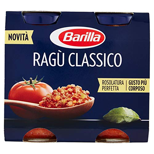 Barilla sugo ragù classico, salsa pronta al pomodoro con carne, cipolla, carote e sedano, senza glutine - 2 barattoli da 180 gr