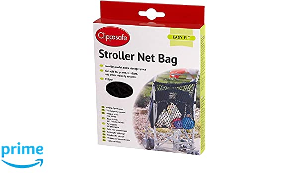 CLIPPASAFE STROLLER//PRAM//CARRYCOT NET BAG IN BLACK//NAVY EASY-FIT Black