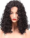 HappyBeauty Perruques noires et bouclées - Perruques afro naturels, moussants et à la mode pour les femmes, Perruques de haute qualité résistants à la chaleur et ondulés quotidiens , 16 inches