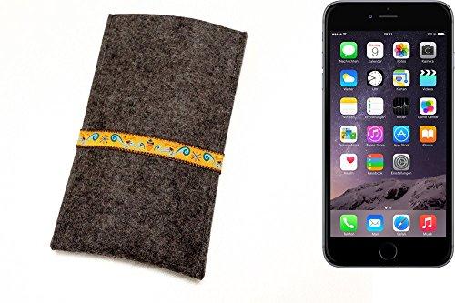 """flat.design Filzhülle """"Lisboa"""" für Apple iPhone 6 Plus - passgenaue Handytasche aus 100% Wollfilz (anthrazit) - made in Germany Schutz Case für Apple iPhone 6 Plus Eichhörnchen - anthrazit"""