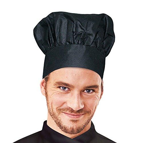Einweg-Kochmütze, Papier-Kochmütze mit Schweißband, Polypropylen Vlies-Kochmütze, Chefkochmütze, Kochhaube, luftdurchlässiges Oberteil, sehr saugfähig, schwarz, weiß, Farbe:schwarz