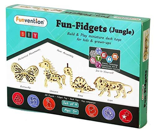 Funvention Fun Fidgets - Jungle - Set of 4 DIY Miniature Mechanical Models (Lion, Unicorn, Dino & Butterfly) - STEM Learning 3D Puzzle Kit