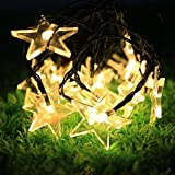 #8: Quace Solar String Lights 6m/20ft 30 LED Water-Resistant Lights Festival Decoration Star Shaped String Lights for Indoor Outdoor Bedroom Patio Lawn Garden Wedding Party Decorations - Warm White